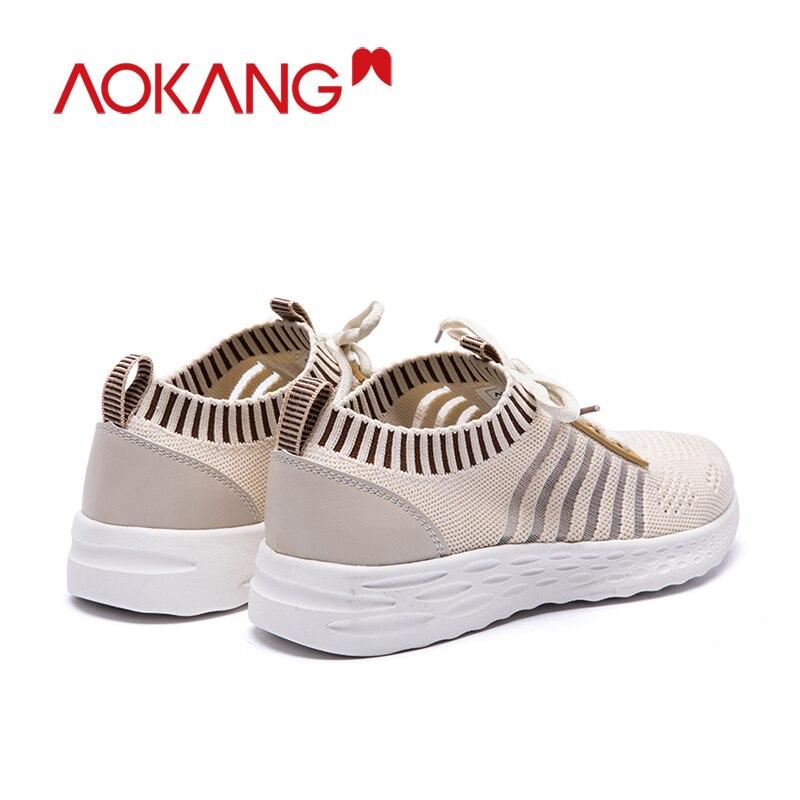 Aokang Mode Schoenen Vrouw Sneakers Fly Gebreide Voor Vrouwen Trainers Platform Schoenen Wedge Air Mesh Ademende Dames Casual Schoenen - 4