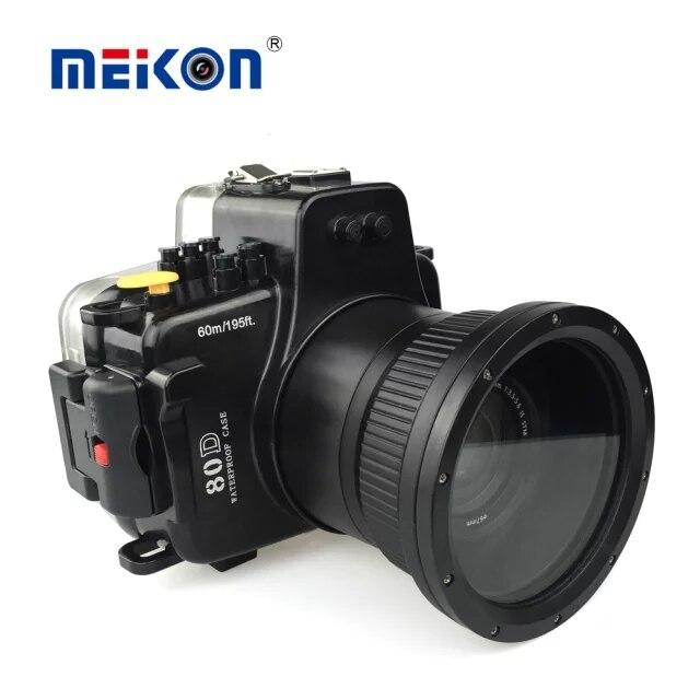 Meikon 40 M 130ft Caso Caixa Da Câmera Subaquática de Mergulho À Prova D' Água para Canon EOS 80D Ternos De Mergulho Câmera Digital DSLR