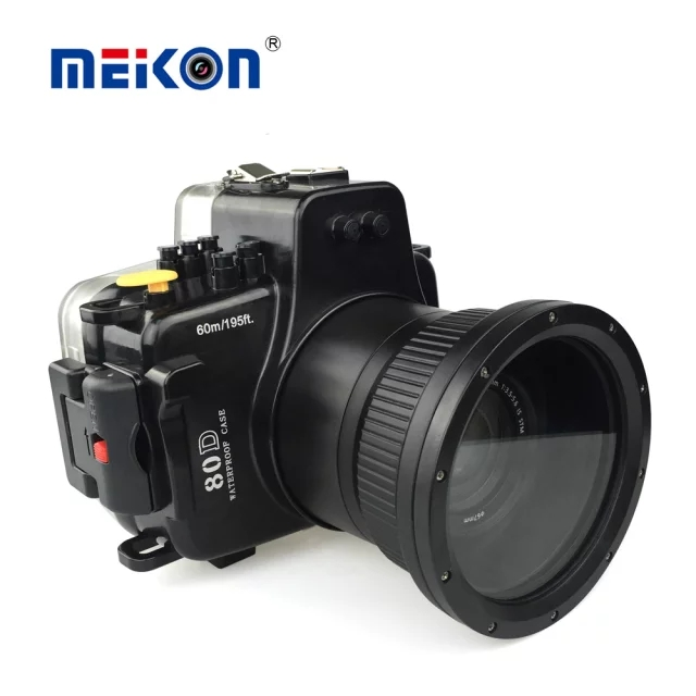 Meikon 40M 130ft Waterproof Underwater Camera Housing Diving Case for Canon EOS 80D Digital DSLR Camera Scuba Suits meikon 40m 130ft waterproof housing case for canon g11 g12 as wp dc34 camera underwater diving bags case for canon g11 g12