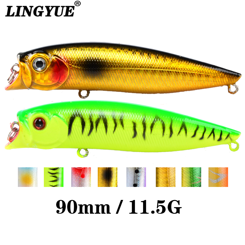 1pcs Fishing Lures High Quality 9.2cm/11.5g Topwater Popper Bait 5 Colors Available Bass Crnakbait Wobblers Fishing Tackle Pesca