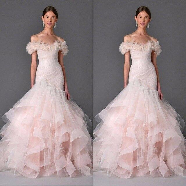 2017 Couture Erroten Rosa Hochzeitskleid Licht Korallen