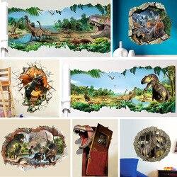 3d наклейки на стену с динозавром для детской комнаты, спальни, украшение для дома, животные на период Юрского периода, роспись, искусство «сд...