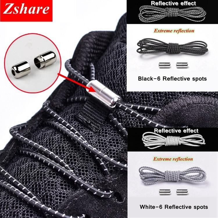 New No Tie Shoelaces Reflective Elastic Shoelaces Metal Tip Shoelace Round Convenient Quick Lock Laces Unisex Shoe Laces
