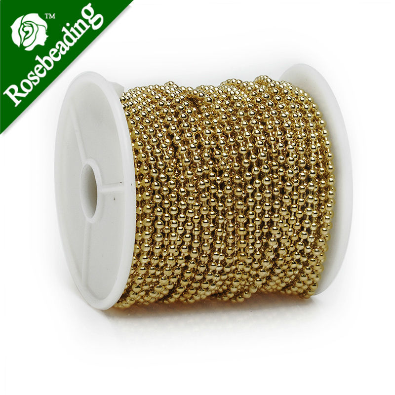 2.4MM Brass 14K Gold Plated Ball Chain,Handmade,Sold 25 Meters Per Roll free shipping imitation pearls chain flatback resin material half pearls chain many styles to choose one roll per lot