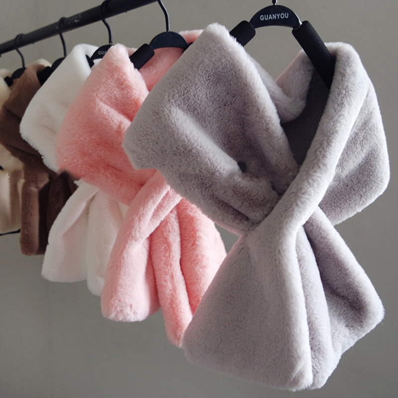 8 Colors 15CM*90CM 2019 Winter Faux Fur Scarf Boy Girls Scarves Baby Imitation Rabbit Fur Collar Scarf With Pompom Neck Warmers
