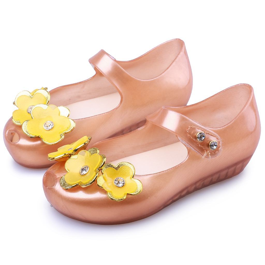 Mini Melissa 2018 hot Summer 3 Twins Flowers Beach Shoes Gold Pearl Tramp Sandals Jelly Shoe Fish Mouth Girl Non-slip Kid Sandal