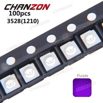 100pcs 3528 1210 UV Purple SMD LED Chip 20mA DC 3V Ultraviolet 395nm - 400nm Light Emitting Diode Ultra Violet SMT LED Bead Lamp