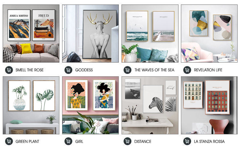 Nordic Antlers girls Figuars wall art Canvas Painting Prints Posters Black White Nude art Pictures for Living Room Morden Decor