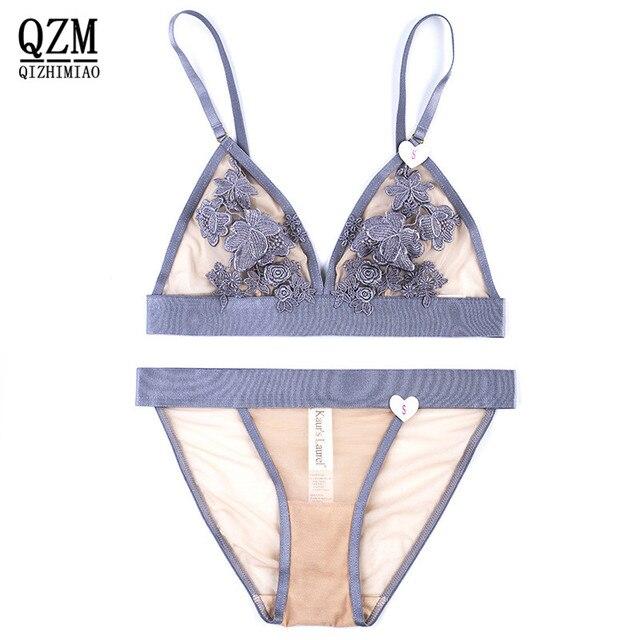 28c2ae69d QIZHIMIAO Mulheres jovens senhoras lingerie sexy conjunto de sutiã cueca  cheia do laço elástico transparente sono