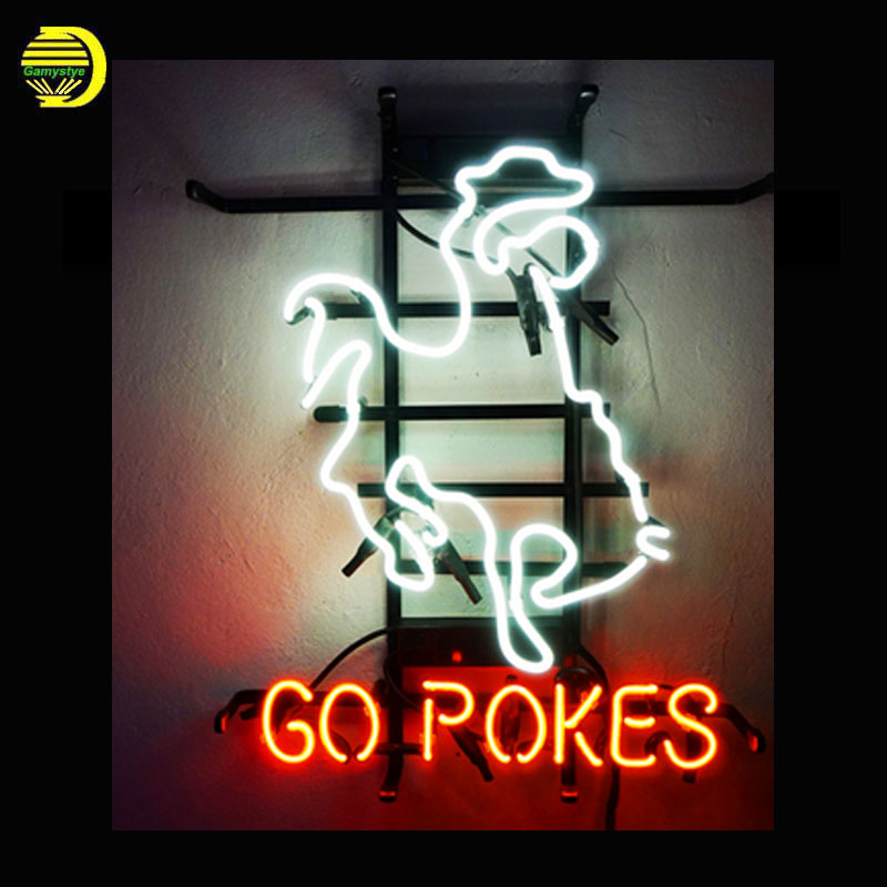 GO POKER Neon Sign Glass Tube Cool Neon Bulbs Sign Beer Pub Sign lighted Lamp Art Sport Light vintage Super Handcraft for sale