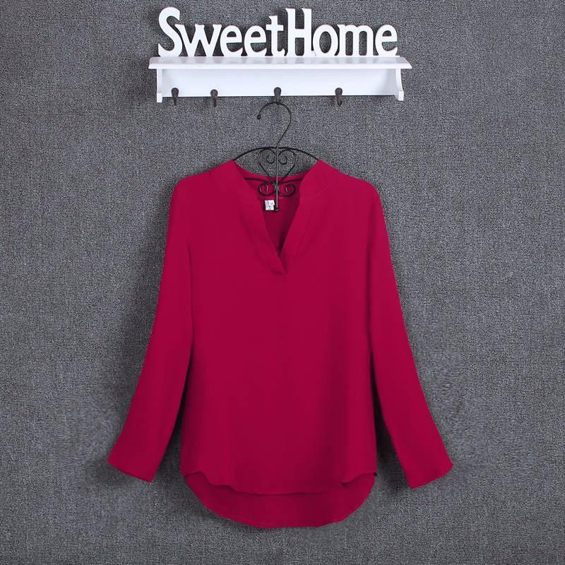 HTB1IoMwKpXXXXcKXFXXq6xXFXXXV - Chiffon Blouse Shirts Women's Long Sleeve V-Neck