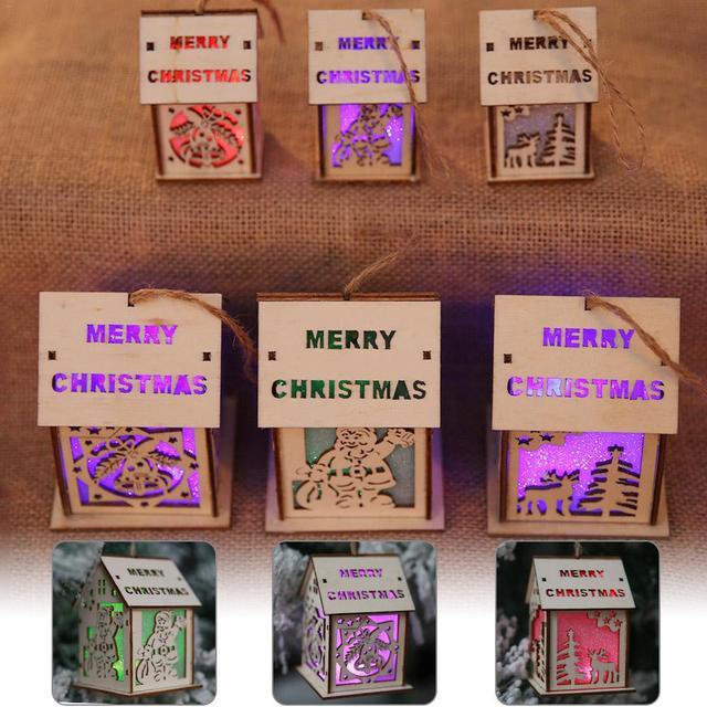 Christmas Luminous Chalet Pendant Christmas Table Ornaments Supplies Decor For Hotel Bar Supermarket Christmas Tree Show Window