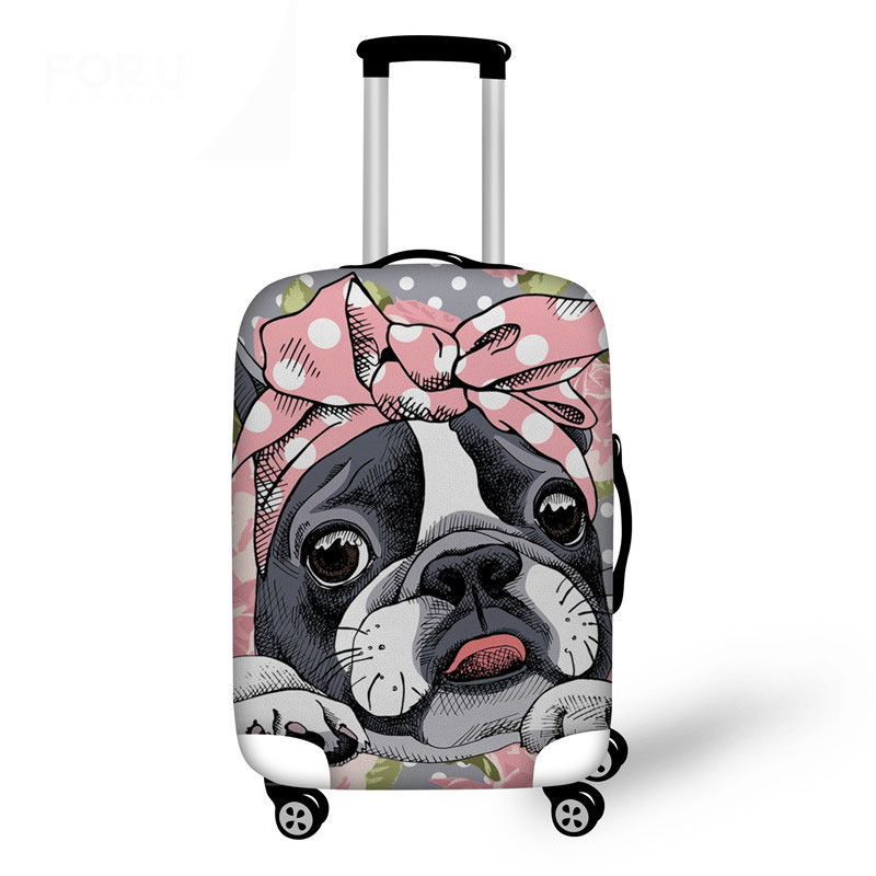 Boston Terrier Luggage Case Cover High Quality Covers For Suitcase Women Fashion Cute Pug Printed Travel Accessories