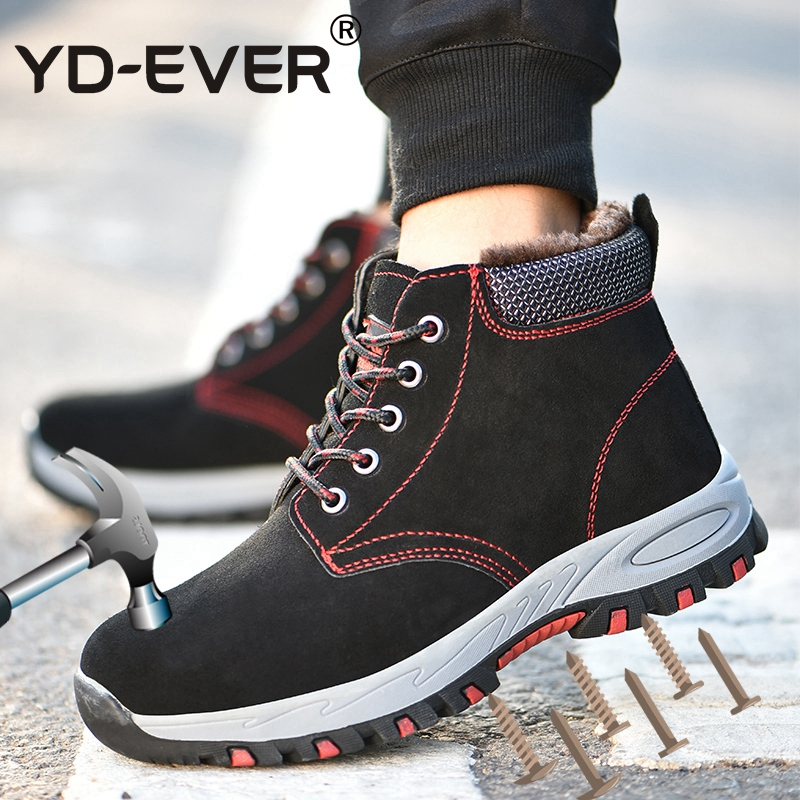 770b25552f Inverno Black Pé Safety Quente Dedo Shoes Tamanho Blue safety Inicialização  Puncture proof Além Sapatos Segurança Do ...