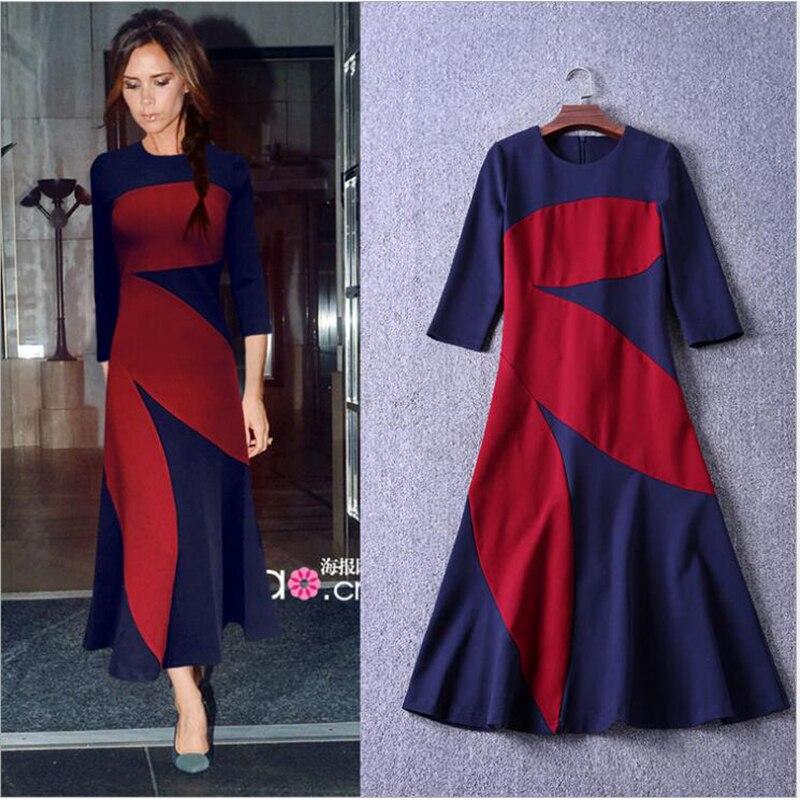 2018 Victoria Beckham Color Splicing Dresses O Neck Three Quarter Sleeves Ankle Length Cotton Casual Dress Women Elegant