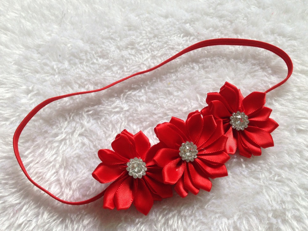 wholesale 3 mini satin ribbon multilayers flowers headband Girls Hair Accessories 16colors in stock free shipping 20pcs/lot