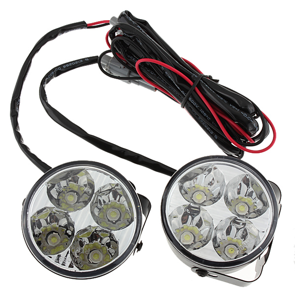 2x White 4LED Car Auto Daytime Running Fog Light DRL LED Driving Lamp New 800LM 2x new h7 80w high power led car auto driving fog tail headlight light lamp bulb white 12v