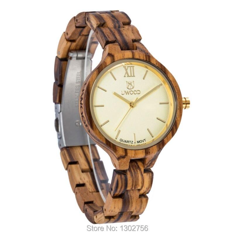 Uwood 2017 Design Zebra Sandal Wooden Quartz Women Wristwatches High Quality Quartz Movement Wood Watch Relojes