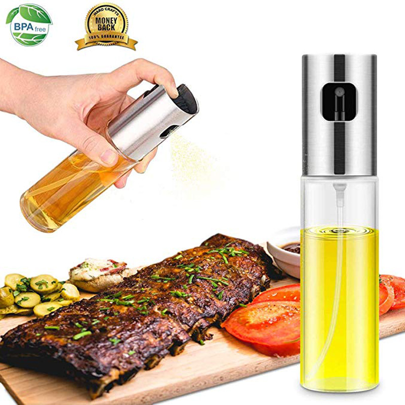 100ml Glass Olive Oil Sprayer Spray Bottle for oil cooking for BBQ Salad Baking FDA Approved kitchen tools BPA free kitchenware image