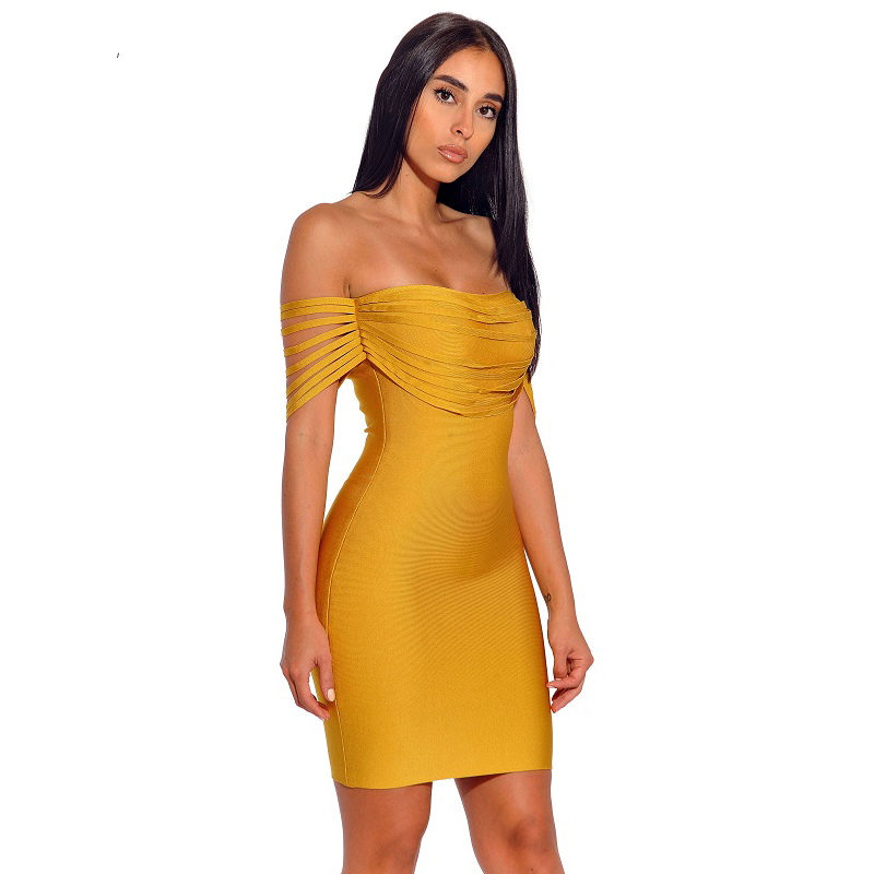 Women Off Shoulder Midi Dresses Empire Autumn Slash Neck Strapless Solid Night Club Party Wear Dresses For Ladies Drop Shipping - 2