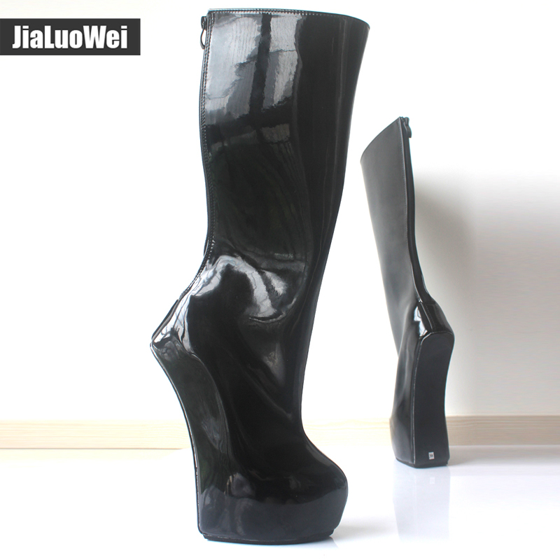 jialuowei New 20cm Extreme High Heel back Zip Sexy Fetish Strange Style Sole Heelless Ponyplay Platform Knee High Ballet Boots in Knee High Boots from Shoes