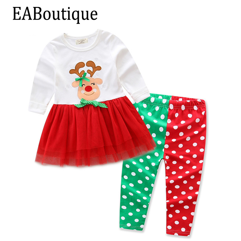 EABoutique Winter Kids Girls Fashion Christmas outfit Cartoon Elk with bling yarn tutu top with dot legging 2 pcs set карабин с роликом petzl petzl rollclip triact lock