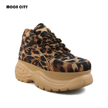 Platform Sneakers Leopard 2019 Fashion Spring & autumn Female Chunky Causal Shoes Woman Leather Platform Sheos Women Sneakers