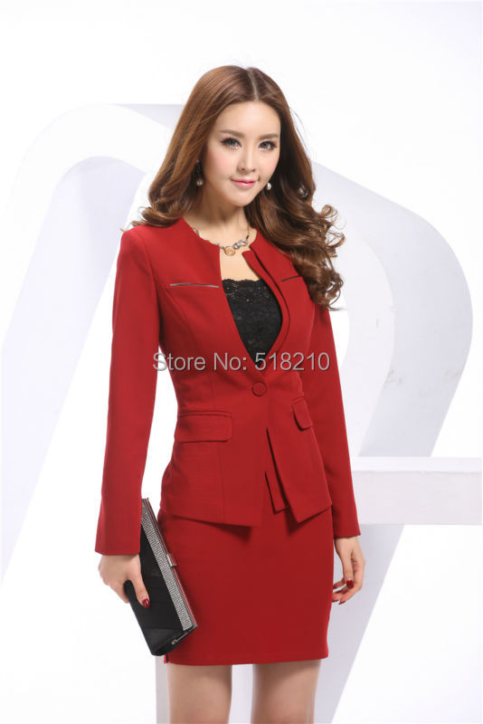 Newest Wear Red Plus Work Office Spring Business Ladies Suits 2015 Professional Rouge Formal Women Skirts Size Sets 4xl For pZprSn6