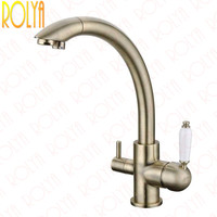 Wholesale New Arrival Victoria Antique Bronze Kitchen Faucet Vintage Drinking Filtered Sink Mixer 3 Way Water Filter Tap