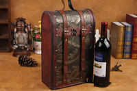 1PC High grade Wine Box Double Single Red Wine Gift Packing Box Durable Portable Wooden Bottle Holder For Red Wine NA 010