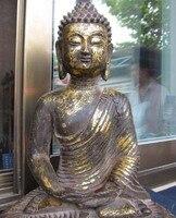"13 ""Tibetano Bronze Gild batina Tathagata Sakyamuni Buddha Statue longevidade|statue figure|buddha|buddha statue head -"