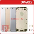 10Pcs/Lot Hight Quality  For iphone 6 6G 4.7 inch housing Gray Sliver Gold metal alloy back cover with buttons with sim tray