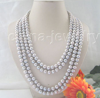 "100"" 9-10mm natural gray round freshwater pearl necklace"