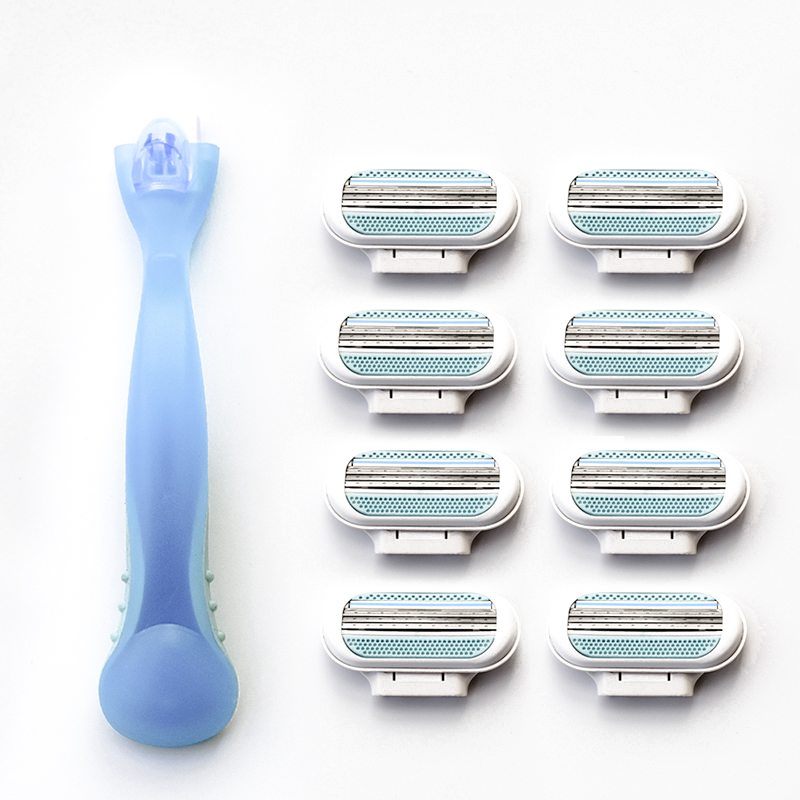 1pc Razor Handle + 4pcs Women Razor Blades,High Quality Women' Shaver Blades Handle Replacement Triple Blade Epilator Women Care