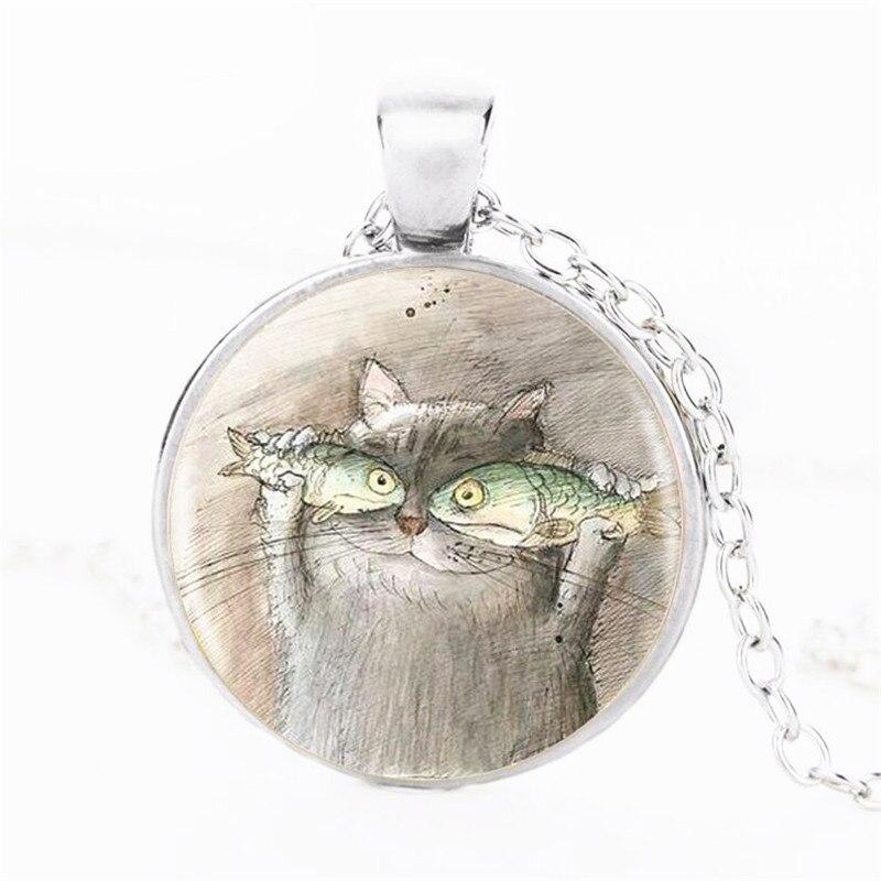 VERDVE Оптовая продажа Новый 2018 кошка и рыба Мода Кристалл стекло кулон свитер цепи цепочки ожерелья ювелирные изделия