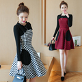 2xl plus big size women set clothing spring autumn winter 2016 feminina two piece suit knit sweater strap dress female A1775