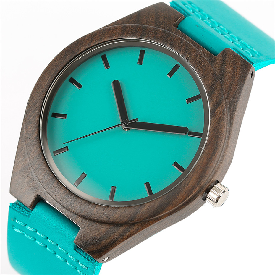 Fashion Blue Wood Quartz Watch Analog Genuine Leather Band Handmade Bamboo Wooden Wristwatch for Men Women Creative Gift Sport Clock (9)