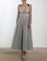 Для женщин с длинным рукавом Sheer Черный горошек глубокий v образный вырез сзади и декольте буря Балетки длинное платье