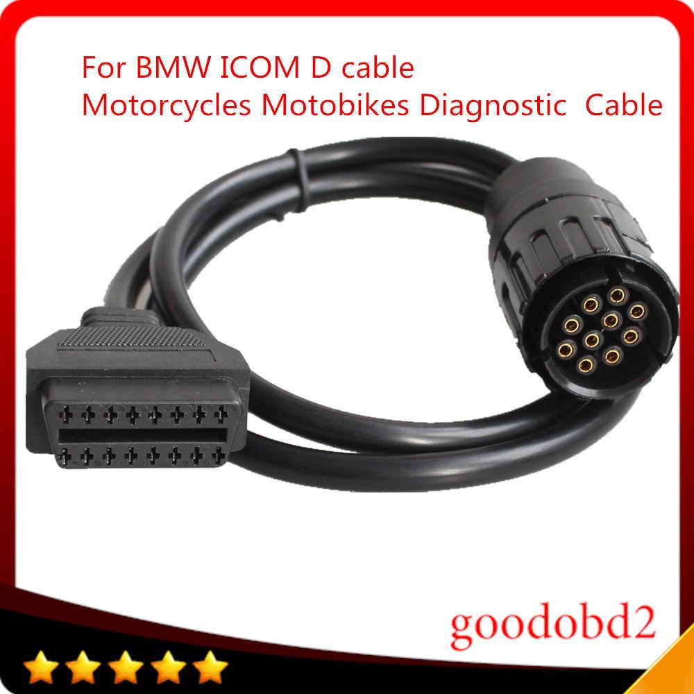 Para bmw icom d cabo ICOM-D motobikes 10 pinos adaptador 10pin para 16pin obd2 obdii cabo de diagnóstico I-COM cabos ferramenta