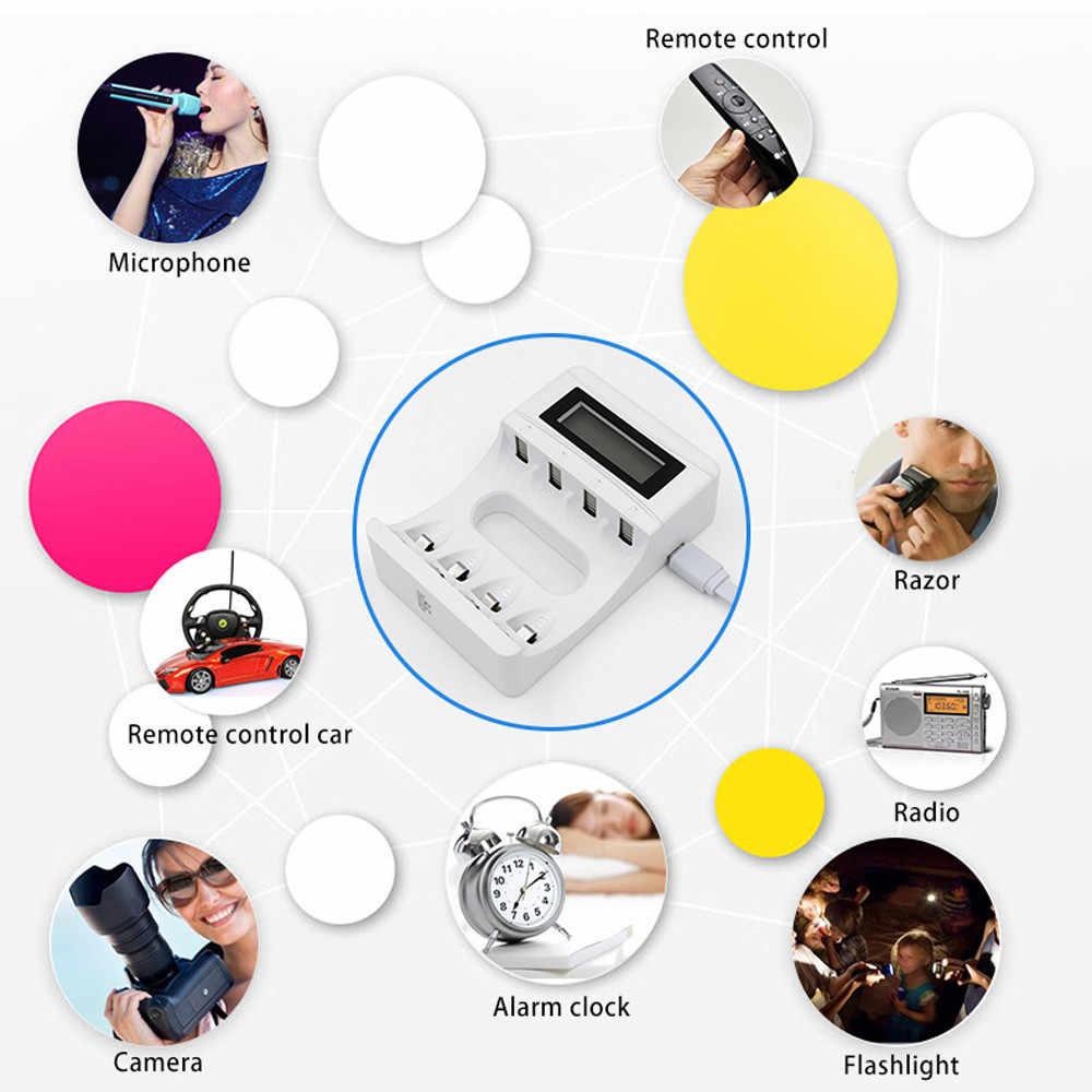 4 فتحات LCD شاشة USB شاحن بطارية قابلة للشحن ل AA/AAA/Ni-Cd/ني Mh دروبشيب 0429