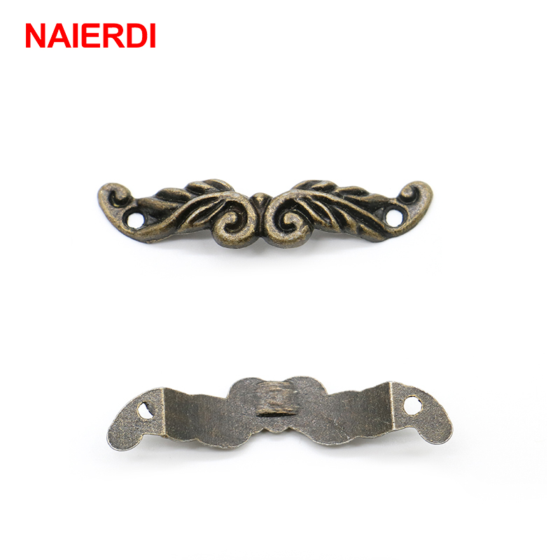 30PCS NAIERDI 46mm x 10mm Bronze Tone Cabinet Drawer Handles Pulls Jewellery Box Handle Knobs With Screws For Furniture Hardware