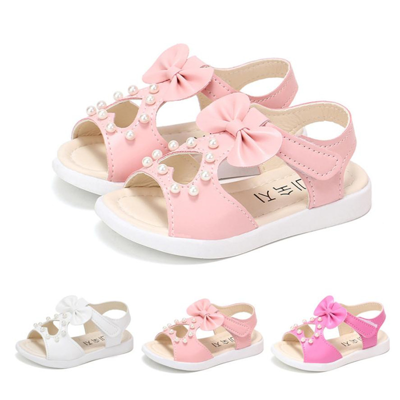 2018 School Shoes Girls First Walkers Toddler Kids Baby Girls Summer Bowknot Pearl Roman Girls Princess Shoes Dropshipping*35