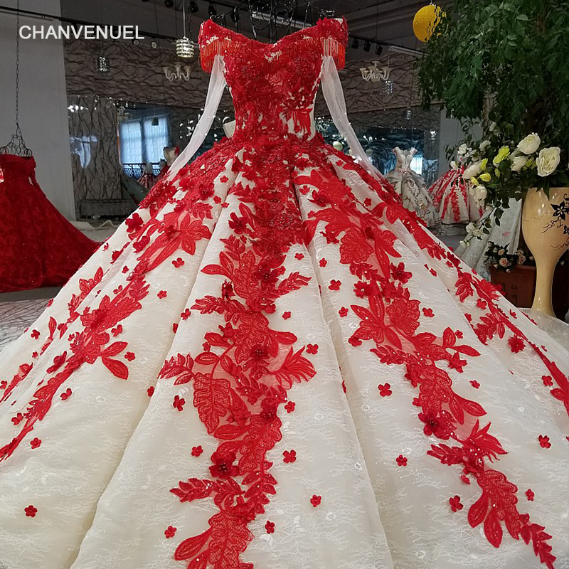 LS09849 red 3d flowers   evening     dress   v-neck long tulle sleeve off shoulder shiny   evening   gown with train 100% real as photos