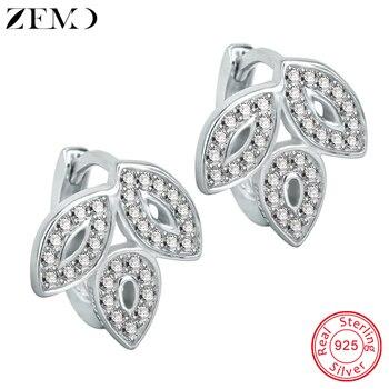 2bb92ecfbddb ZEMO hojas de plata de ley 925 pendientes de aro de plata mujer joyas de  diamantes