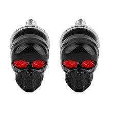Couvercle de cadre de plaque d'immatriculation, 2 pièces, Cool crâne pour moto Chopper Tornillos section des boulons