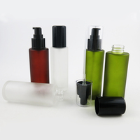 200 X 100ml Olive Green Frosted Round Glass Lotion Bottle With Black Plastic Pump Glass Frost