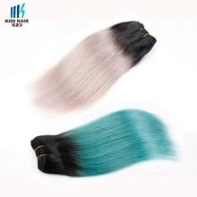 1 Pc Straight Ombre Brazilian Hair 1B Green 1B Purple Red 1B Grey 1B Blue Kiss Hair Fashion Brazilian Remy Human Hair Extensions