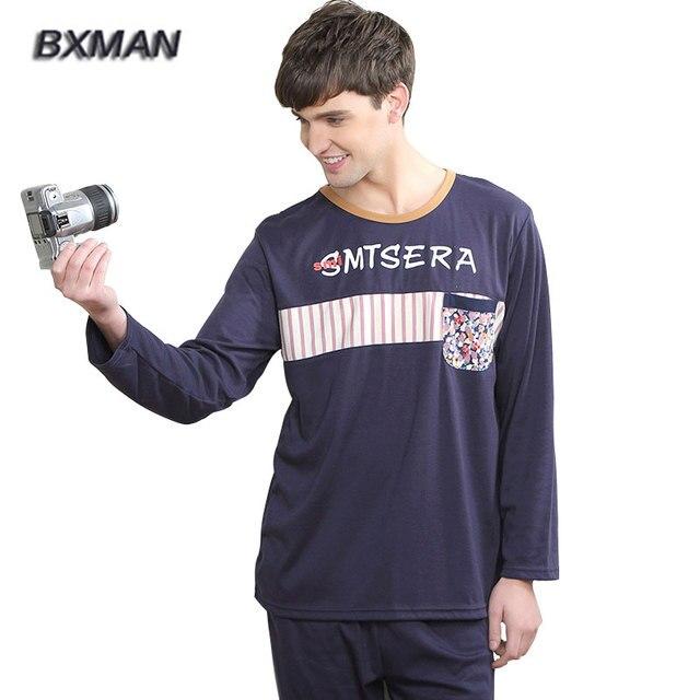 BXMAN Brand Men's Casual Pijamas Hombre Cotton Letter & Print O-Neck Full Sleeve Plus Size Sleepwear Pajamas Home Suit 142
