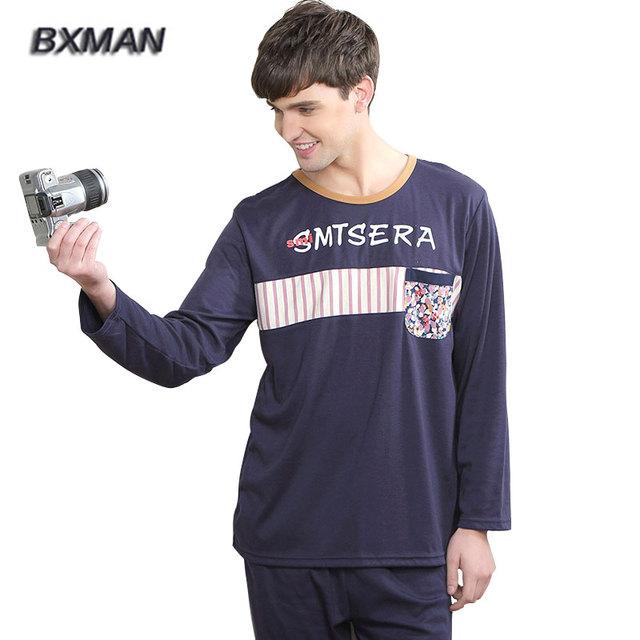 Bxman marca Casual Pijamas Hombre algodão carta de impressão O pescoço Plus Size Sleepwear pijama 142