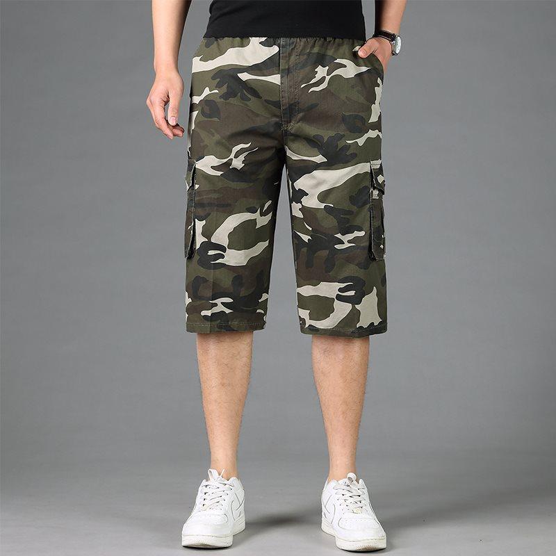 Free shipping mens cargo shorts male loose camouflage hiphop plus size men short trousers M 3xl 6xl 7x l 8xl shorts men pockets